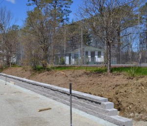 New retaining wall beside the gardens.